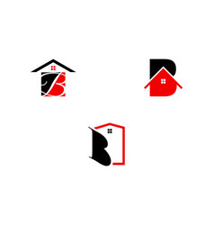 set of initial letter b house real estate logo vector image