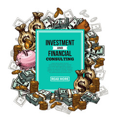 sketch financial investments poster vector image