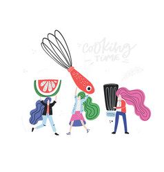 Small cooking team vector