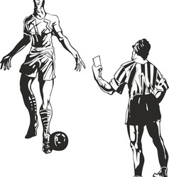 Soccer referee takes a card to player vector