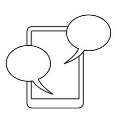 Speech bubble on phone icon outline style vector image