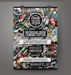 sport doodles poster design activities sign board vector image