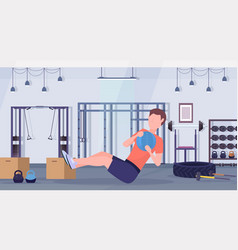 sporty man doing sit-ups exercises with medicine vector image