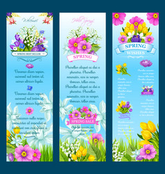 spring wishes banners and flowers vector image