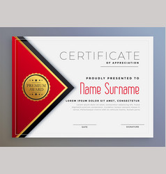 Stylish red geometric modern certificate template vector