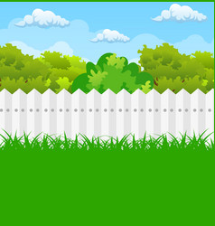 summer garden with bushes and tree vector image