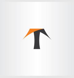 t logo letter black orange logotype symbol vector image