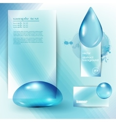 template with a blue background and the drops of vector image