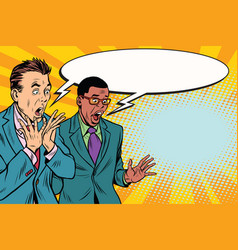 Two businessmen shocked multi-ethnic group vector