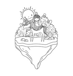 unicorn and fairy in landscape vector image