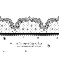 Vintage delicate lace card handmade ornament vector