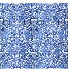 Vintage indigo dyed textile seamless pattern boho vector