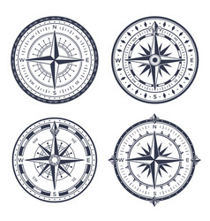 vintage sea compass retro east and west north vector image
