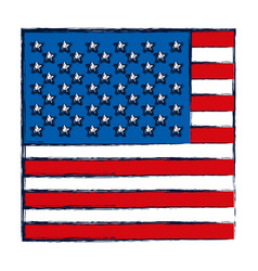 watercolor silhouette of flag the united states in vector image