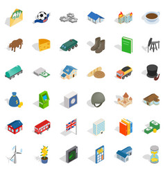 wealth icons set isometric style vector image