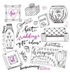 Wedding gift ideas set cartoon doodle vector