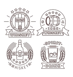Whisky logo set thin line style alcohol vector image