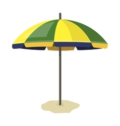 Yelow-green beach umbrella icon in cartoon style vector image