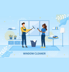 Young window cleaner with black housewife vector