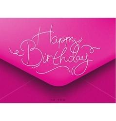 Birthday envelope pink vector image vector image
