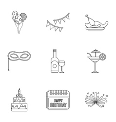 Children party icons set outline style vector image vector image