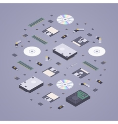 Isometric flat digital memory storages vector