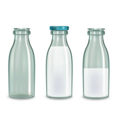 realistic transparent glass milk bottle set vector image