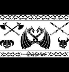 set of fantasy viking signs and patterns vector image vector image