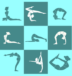 various silhouette pose yoga posture set vector image