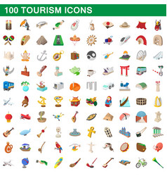 100 tourism set cartoon style vector image vector image