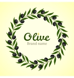 Black olive branches wreath vector image