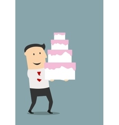 Businessman carrying a birthday cake vector image