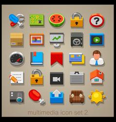 multimedia icon set-2 vector image vector image