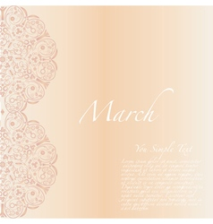 8 march Ornament flower greeting card vector image vector image