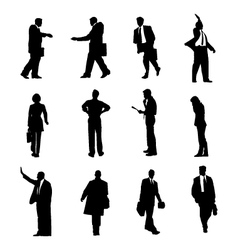 businessmen silhouettes set vector image