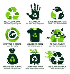 flat icon set for eco friendly recycling vector image