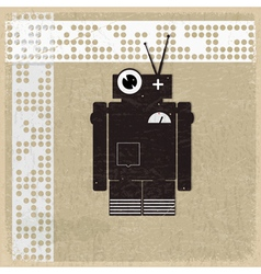 Vintage background with the silhouette of a robot vector image