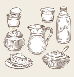 A set of dairy products in vector