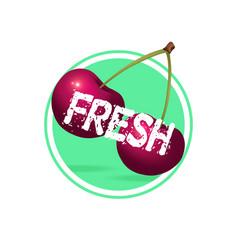 cherry drink label design berries juice sticker vector image