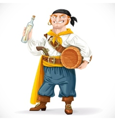 Cute pirate with a barrel of rum and a bottle with vector image vector image
