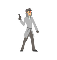 detective character standing and holding gun vector image