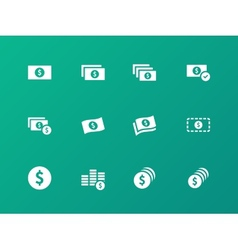Dollar Banknote icons on green background vector image vector image