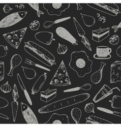 hand drawn doodle food seamless patterns vector image vector image