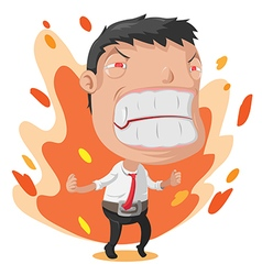 Man Worker Anger Cartoon Character vector image