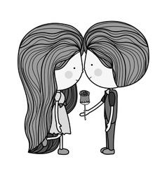 monochrome man giving a rose to girl vector image