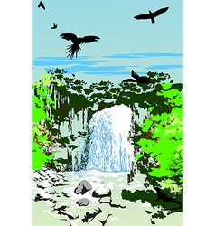 Wild Jungle Waterfall vector image vector image