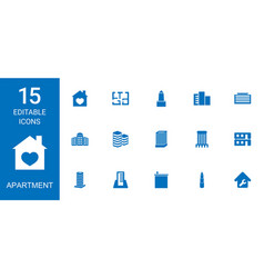 15 apartment icons vector