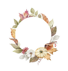a watercolor wreath for thanksgiving vector image