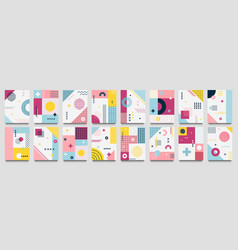 Abstract neo memphis background modern geo grid vector