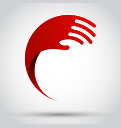 abstract red wave hand vector image